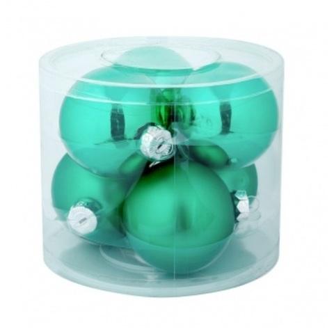 Набор шаров 6шт. в тубе (стекло), D10см, цветовая гамма: зелёные