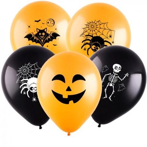 Воздушные шары Хэллоуин черно-оранжевые