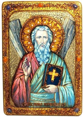 Инкрустированная большая икона Святой апостол Андрей Первозванный 42х29см на натуральном дереве в подарочной коробке