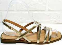 Кожаные женские босоножки на маленьком каблуке Wollen M.20237D ZS Gold.