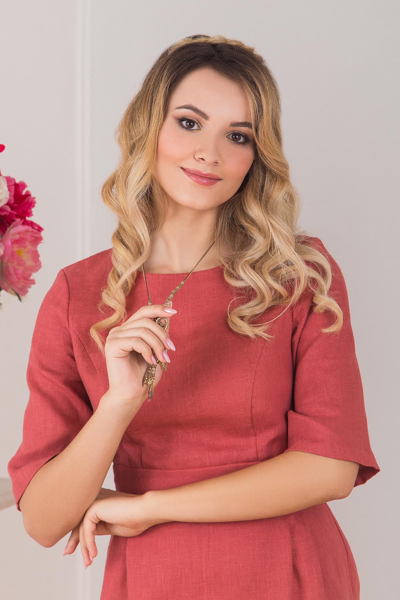 Платье льняное Пыльная роза приближенный фрагмент