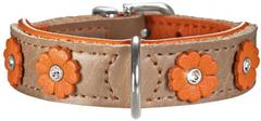 Ошейник для собак Hunter Daisy 32 (24-28 см) кожа с цветочками бежевый/оранжевый