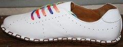 Женские туфли на шнурках без каблука Evromoda 19604 White
