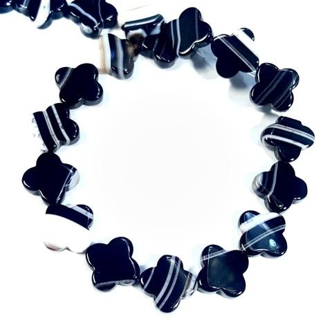 Бусины агат черный полосатый Клевер 12,5х12,5 мм 1 бусина