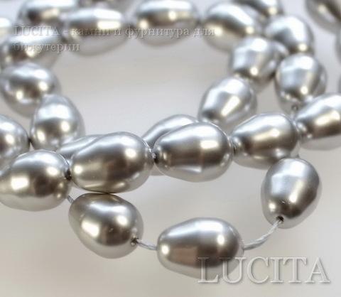 5821 Хрустальный жемчуг Сваровски Crystal Light Grey грушевидный 11х8 мм