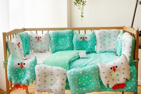 Комплект постельного белья для новорождённых Совушки 9-01 Уничекс бело-мятный
