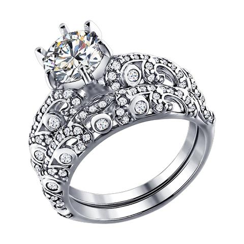 94011194- Кольцо двойное из серебра с фианитами