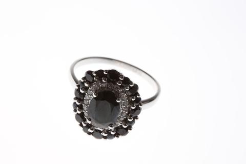 Кольцо с сапфиром и цирконом из серебра 925