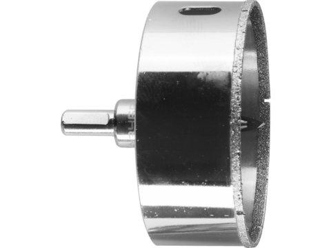 Коронка алмазная по кафелю и стеклу, d=90 мм, зерно Р 60, в сборе с центрирующим сверлом и имбусовым ключом, ЗУБР Профессионал 29850-90