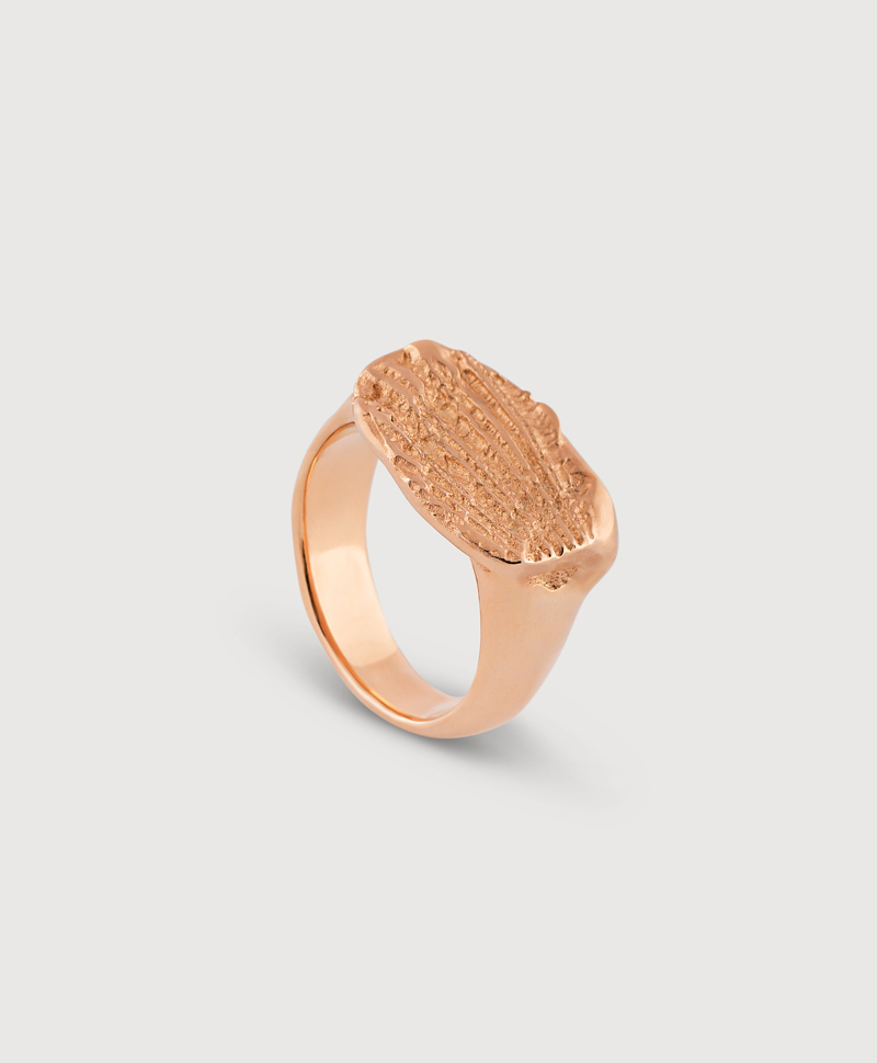 Серебряное кольцо с отпечатком с золотым покрытием