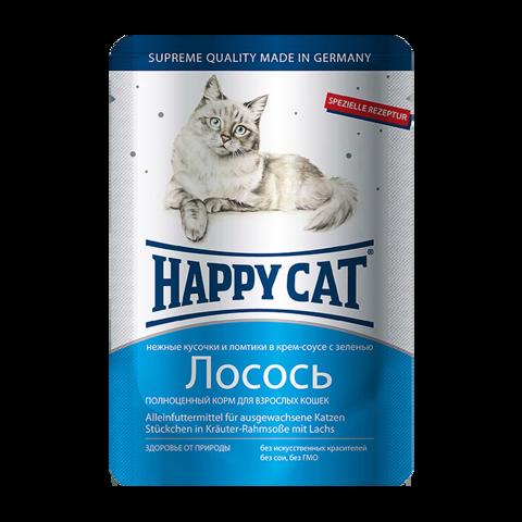 Happy Cat Консервы для кошек с ломтиками лосося в соусе (пауч)