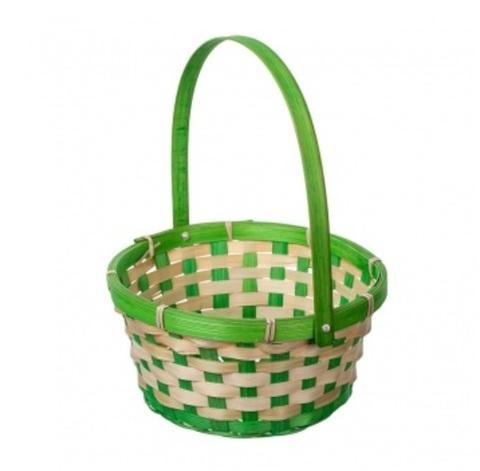 Корзина плетеная (бамбук), размер:D21хH24 см, цвет:зеленый