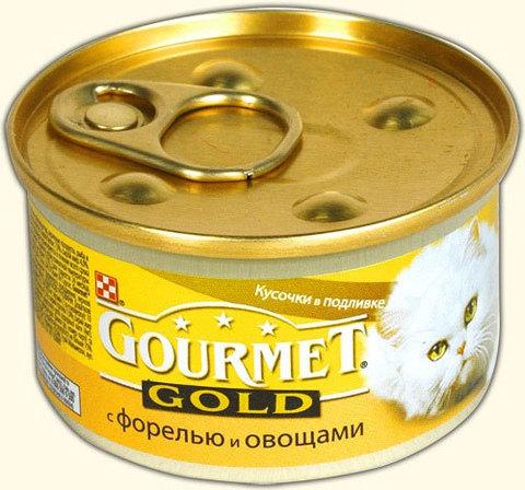 Gourmet Кусочки в соусе Gpormet Gold c форелью и овощами 85 г