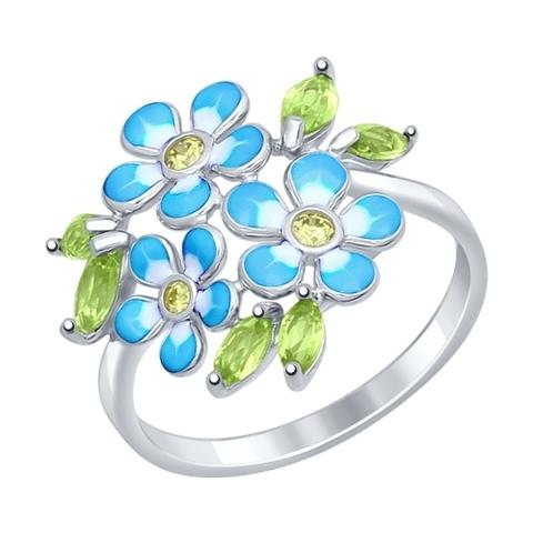 92011321- Кольцо из серебра с хризолитами