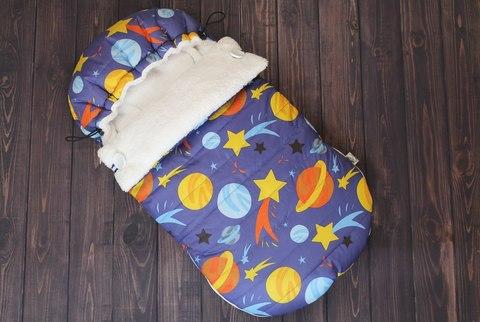 Зимний конверт кокон на выписку Космос