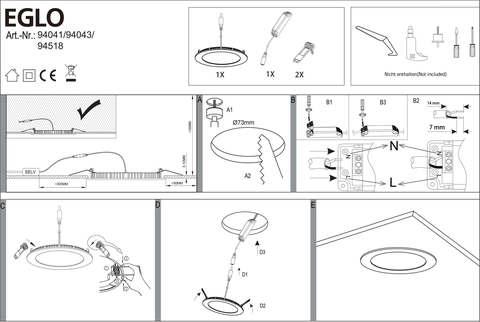 Панель светодиодная ультратонкая встраиваемая Eglo FUEVA 1 94041 3