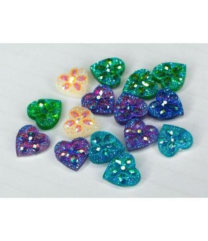 175 Стразы сердечки разноцветные 15 шт
