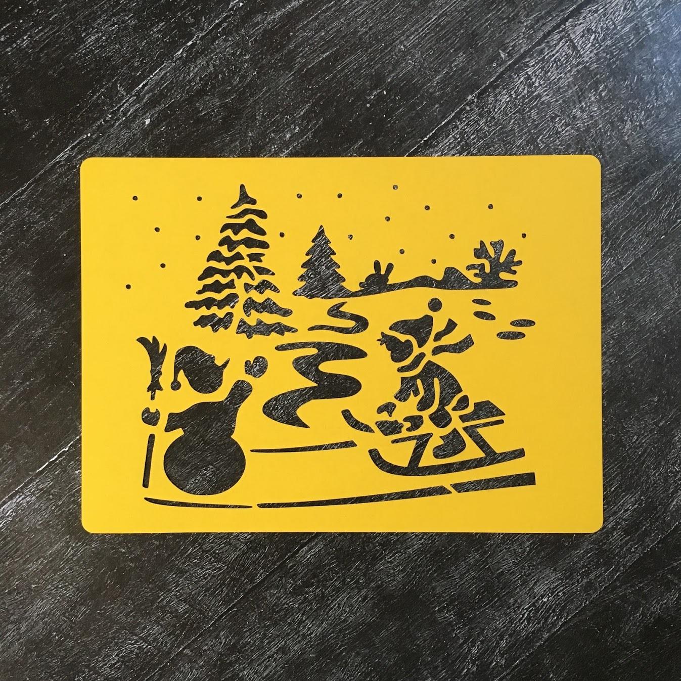 Трафарет новогодний №8 Снеговик и лыжник