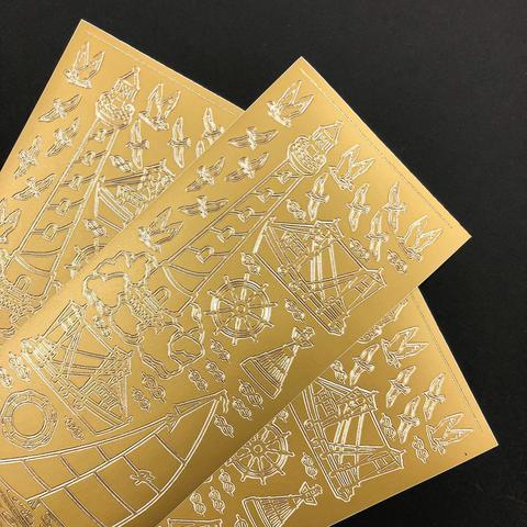 Контурные наклейки Маяк и парусник, золото