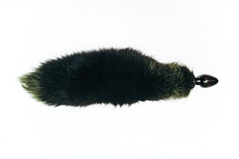 Анальная пробка чёрного цвета диам.60мм с зеленым лисьим хвостом BF60black/green