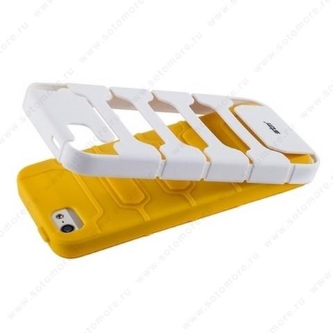 Накладка STM противоударный для iPhone SE/ 5s/ 5C/ 5 желтое на белом