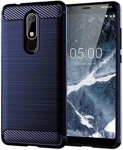 Чехол Nokia 5.1 цвет Blue (синий), серия Carbon, Caseport