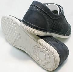 Темно синие кроссовки туфли на плоской подошве мужские Vitto Men Shoes 3560 Navy Blue.