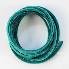 Шнур замшевый (искусств), 3х1,5 мм, цвет - морская волна, примерно 1 м