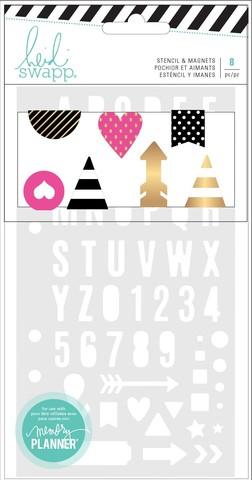 Трафарет и магнитные закладки для ежедневника -Heidi Swapp Memory Planner Stencil & Magnetic Clips Fresh Start