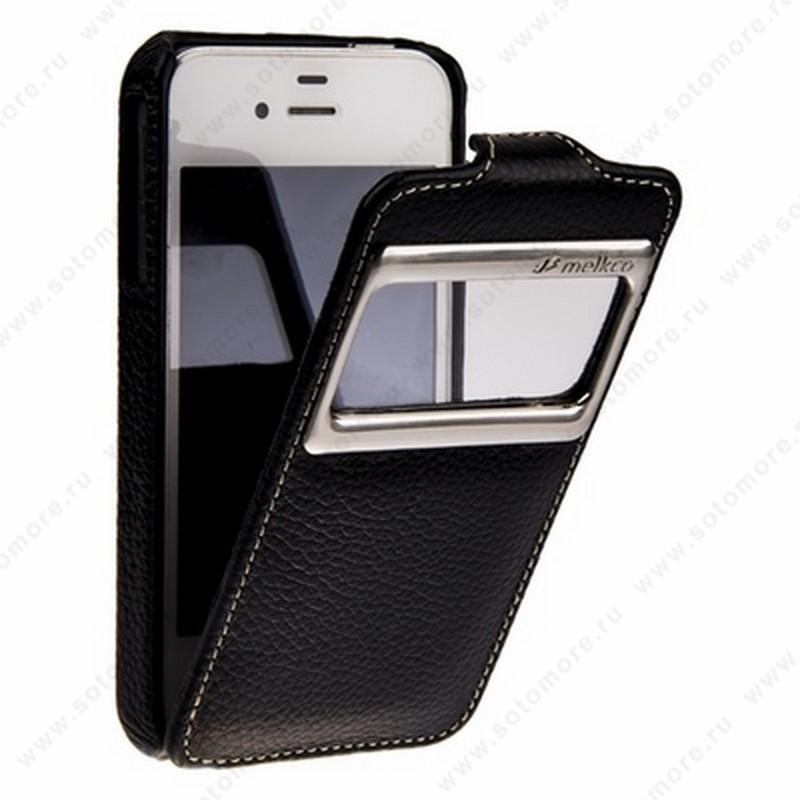 Чехол-флип Melkco для iPhone 4s/ 4 Leather Case Jacka ID Type (Black LC)
