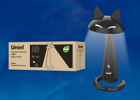 TLD-532 Black/LED/360Lm/4500K/Dimmer Светильник настольный «Кошка». 7W. Сенсорный выключатель. Диммер. Чёрный. TM Uniel.