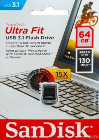 USB флэш-диск SanDisk 64GB CZ43 Cruzer Ultra Fit