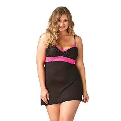 Черная сорочка с розовым кружевом под грудью (BS)