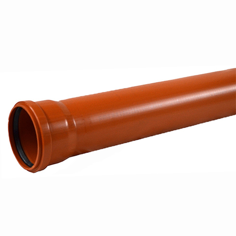 Труба для наружной канализации СИНИКОН НПВХ - D200x4.9 мм, длина 1000 мм (цвет оранжевый)