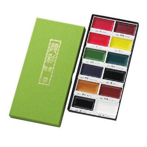Набор профессиональной японской акварельной краски Gansai Tambi 12цв