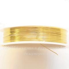 Проволока медная 0,4 мм, цвет - золото, примерно 15 метров