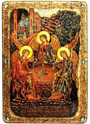 Инкрустированная большая икона Троица 42х29см на натуральном дереве в подарочной коробке