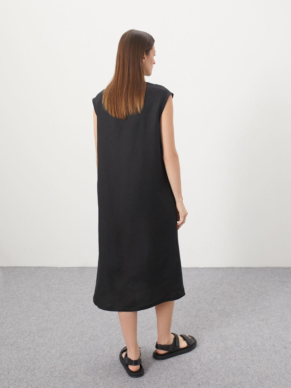 Платье-рубашка Nika со складками, Черный
