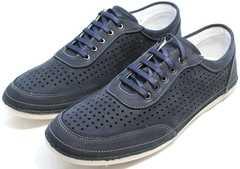 Синие мужские мокасины кроссовки в дырочку Vitto Men Shoes 3560 Navy Blue.