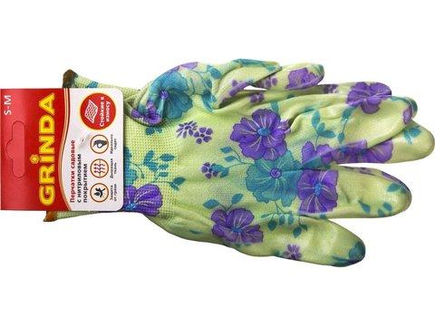 Перчатки GRINDA садовые, прозрачное нитриловое покрытие, размер S-M, зеленые