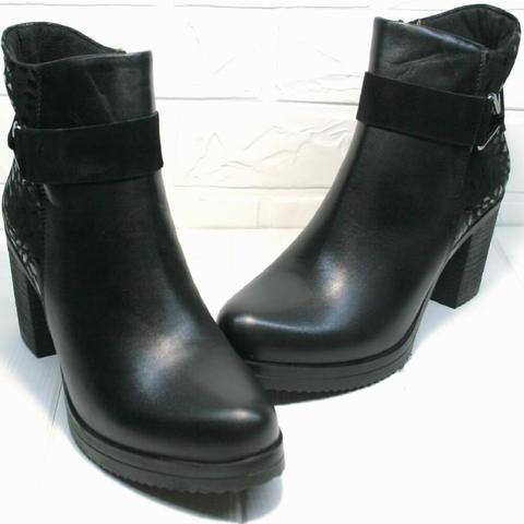 Удобные ботильоны кожаные на каблуке. Демисезонные ботильоны женские Lady West Black
