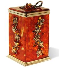 """Коробка для хранения чая в наборе с ложечкой, янтарь, серия """"Виноград"""""""