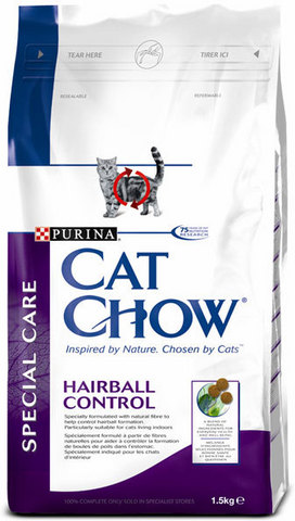 Cat Chow Для выведения шерсти из желудка (special Care Hairball) 1,5 кг
