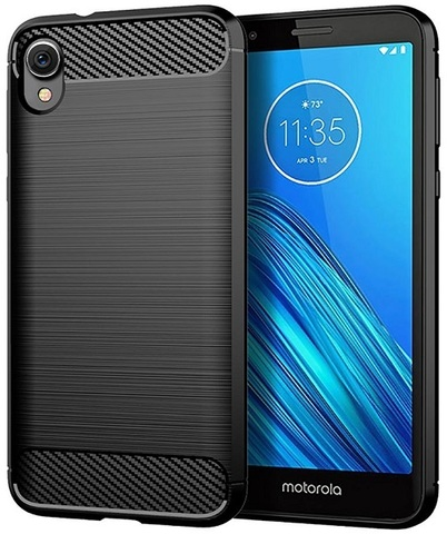 Чехол на Motorola Moto E6 черного цвета, серия Carbon, Caseport