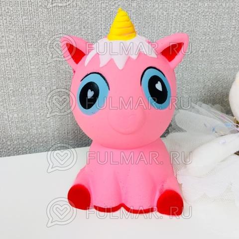 Сквиши игрушка единорог Мила Розовый голубые глаза