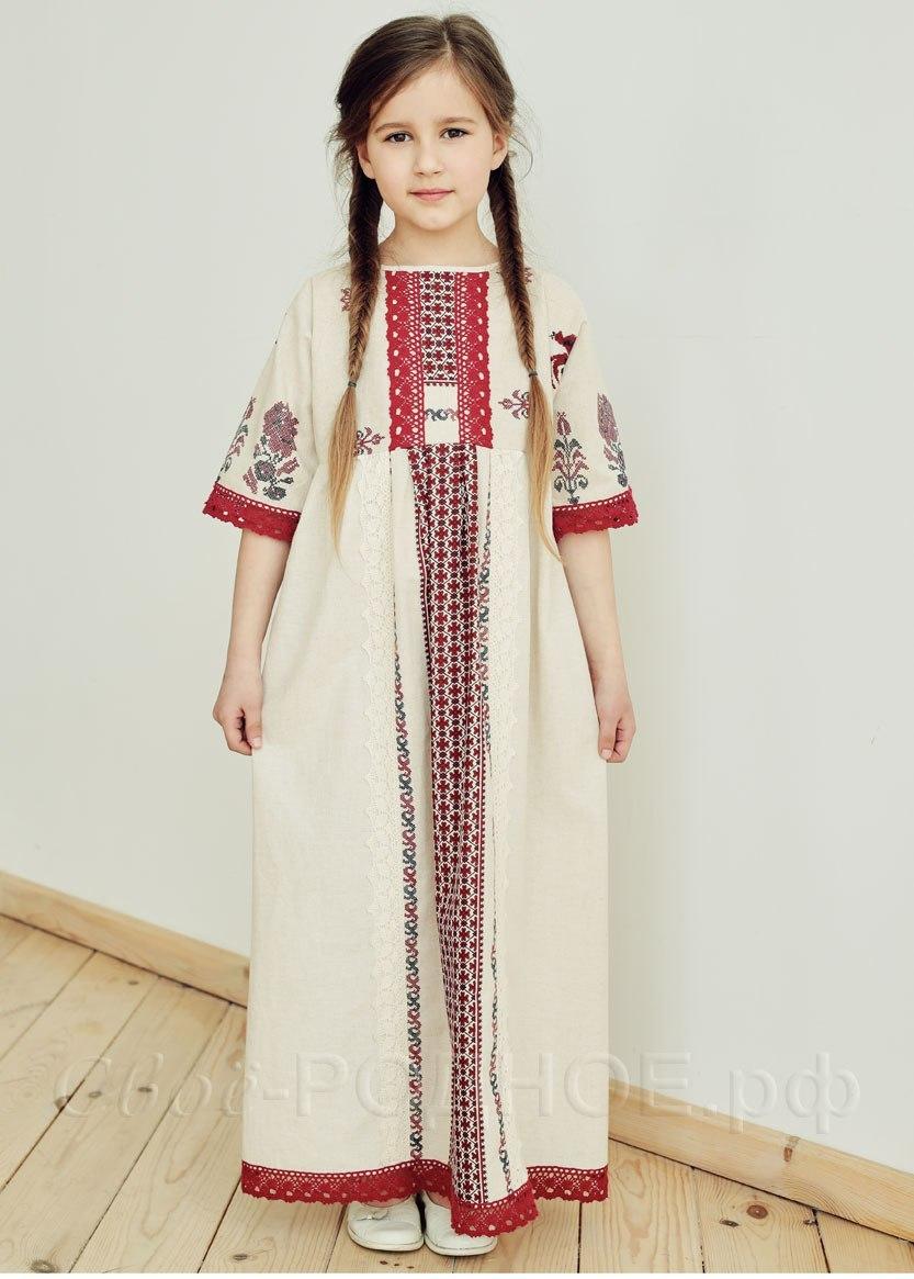 Платье льняное Петухи 03