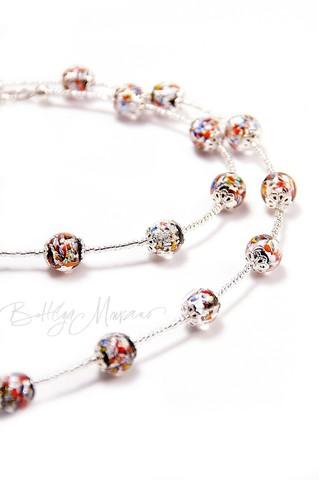 Ожерелье  из муранского стекла Арлекино Пикколо серебристое