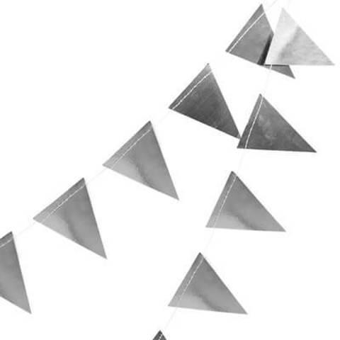 Гирлянда-вымпел фольгированная серебро 10 м