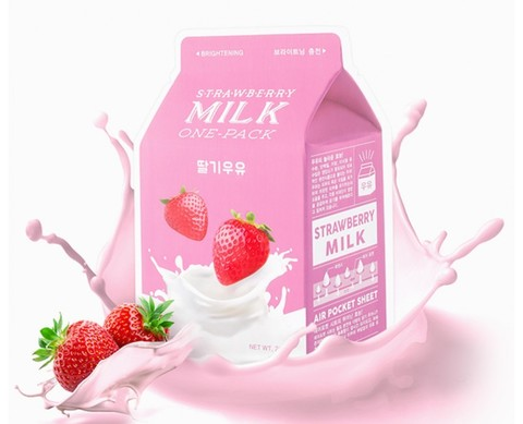 Маска для лица тканевая клубничная A'PIEU Strawberry Milk One Pack 21 гр