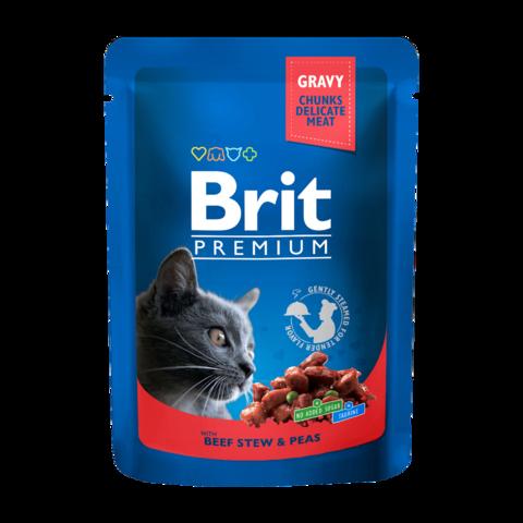 Brit Premium Cat Консервы для кошек с говядиной и горошком (пауч)